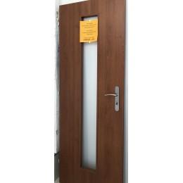 Dveře Basic +40 70/L višeň tmavá sklo chinchila + zárubeň 9,5-11,5 cm