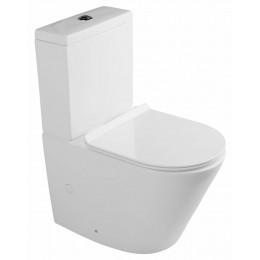PACO RIMLESS WC kombi mísa s nádržkou včetně Slim Soft Close sedátka, sp./zadní