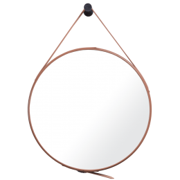 Zrcadlo s koženým řemenem, průměr 50cm, hnědé