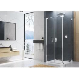 CADURA boční stěna v 90°, čiré sklo, aluchrom, 80cm