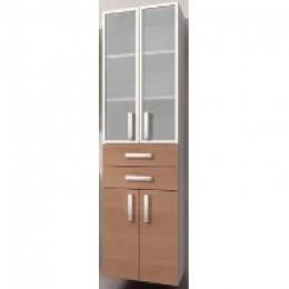 INTEDOOR Vysoká skříňka se sklem a dvěma zásuvkami NY SVG 50 2Z, š: 50cm
