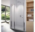 Výprodej - SanSwiss SWING SL13 SL1310005007 Jednokřídlé dveře s pevnou stěnou v rovině, 100 cm, 50 Aluchrom, 07 čiré sklo