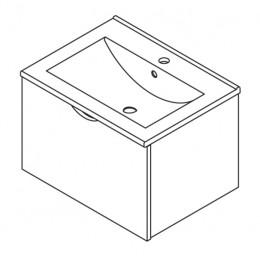 Sapho ISABELA skříňka s umyvadlem 60x42x46cm, třešeň ( 61060 )