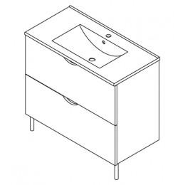 Sapho ISABELA skříňka s umyvadlem 90x72x46cm, třešeň ( 61090 )