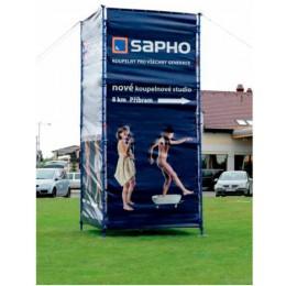 Lešení s reklamní plachtou SAPHO 2,5x2,5m,výška 5,4m ( V-LESENI )