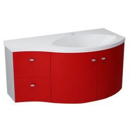 Sapho AILA umyvadlová skříňka 110x39cm, červená/stříbrná, zásuvky vlevo ( 55611 )