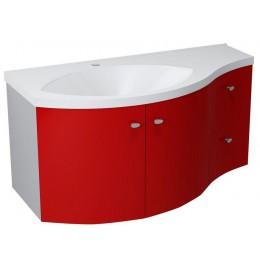 Sapho AILA umyvadlová skříňka 110x39cm, červená/stříbrná, zásuvky vpravo ( 55612 )