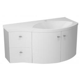 Sapho AILA umyvadlová skříňka 110x39cm, bílá/stříbrná, zásuvky vlevo ( 55621 )