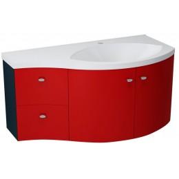 Sapho AILA umyvadlová skříňka 110x39cm, červená/černá, zásuvky vlevo ( 55637 )