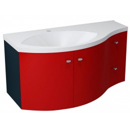 Sapho AILA umyvadlová skříňka 110x39cm, červená/černá, zásuvky vpravo ( 55638 )