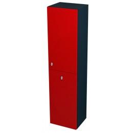 Sapho AILA skříňka vysoká s košem 35x140x30cm, pravá, červená/černá ( 55676 )