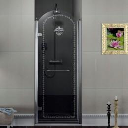 Sapho ANTIQUE sprchové dveře 800mm, levé, čiré sklo s dekorem, chrom ( GQ1580L )