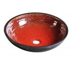 ATTILA keramické umyvadlo, průměr 46cm,  tomatová červeň/petrolejová             ( DK017 )