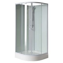 AIGO čtvrtkruhový sprchový box 900x900x2050 mm, bílý profil, čiré sklo