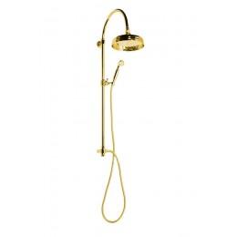 ANTEA sprchový sloup k napojení na baterii, hlavová a ruční sprcha, zlato