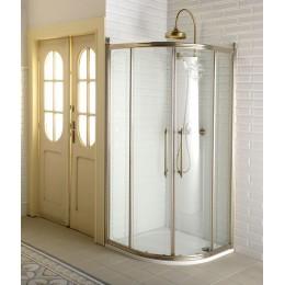 ANTIQUE čtvrtkruh. zástěna 1000x1000, posuv. dveře dvoukřídlé, ČIRÉ sklo, bronz