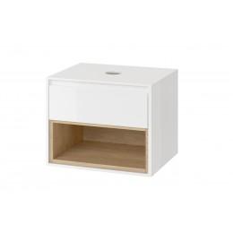 Koupelnová skříňka pro umyvadlo na desku, 60cm bílá/dub